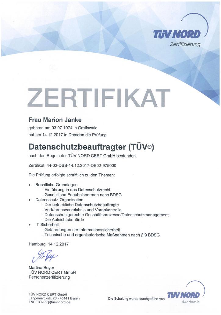 Rechtsanwältin Janke Erhält Tüv Zertifikat Als Datenschutzbeauftragte Fachanwalt Für Urheber U Medienrecht